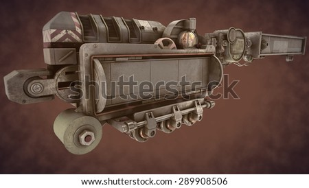 steampunk  time mechanism on brown smoke - stock photo