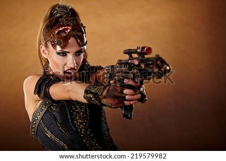 Steampunk woman. Fantasy fashion for cover.  - stock photo