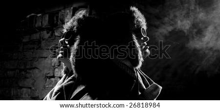 steampunker near the wall - stock photo