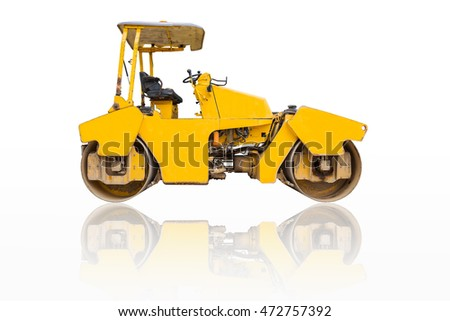 Steamroller a modern road roller with yellow color isolated on white background.