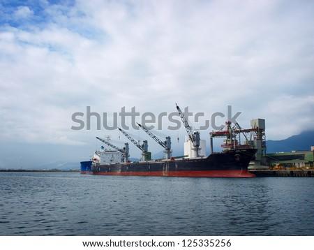 Steamship in Hualien Harbor, Taiwan - stock photo