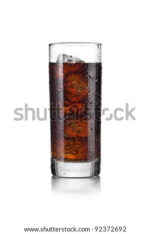 Steamy glass with cold beverages with ice cubes
