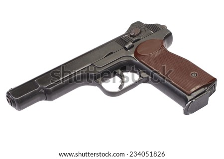 Stechkin automatic pistol APS isolated on white - stock photo