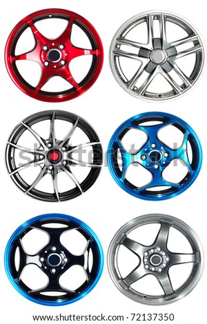 Steel alloy car rims over the white background - stock photo
