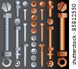 Steel and Brass Hardware, set of Screws, Rivets and Bolts - stock photo