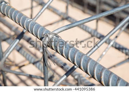steel bar, building construction - stock photo