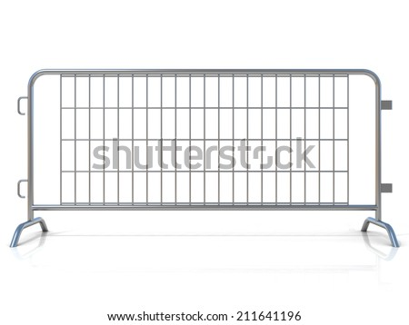 Steel barricades, isolated on white background. Front view - stock photo