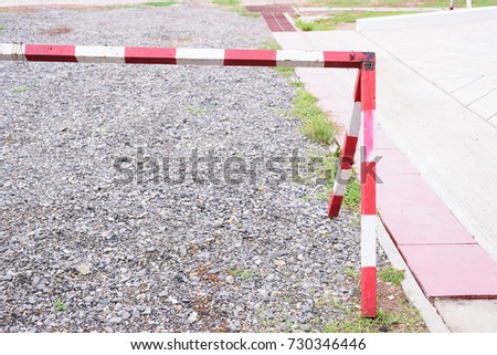 Steel barrier entrance prohibited.Protection and private area concept.