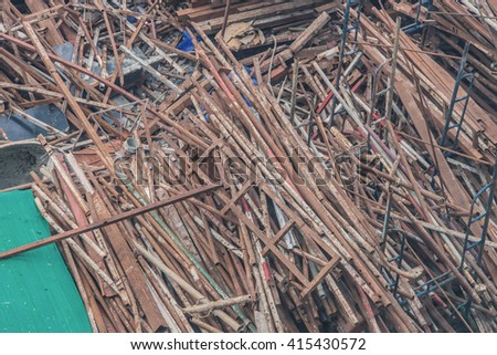 steel bars and materials in construction site. - stock photo
