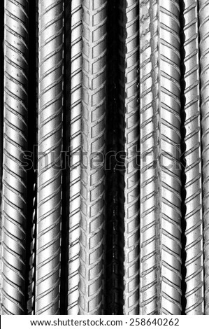 Steel bars for background, black and white photo. - stock photo