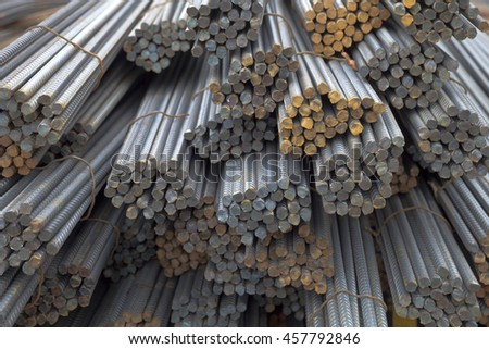 steel bars, iron for building construction - stock photo