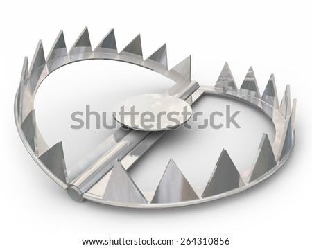 Steel bear trap to catch animals or victims with its sharp pointy teeth - stock photo