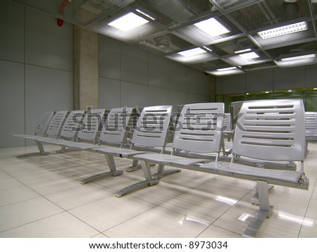 Steel benches at the international airport