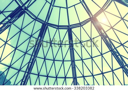 steel blue glass high rise building skyscrapers, business concept of successful industrial architecture - stock photo