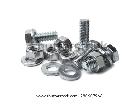 Steel bolts and nuts on white background - stock photo