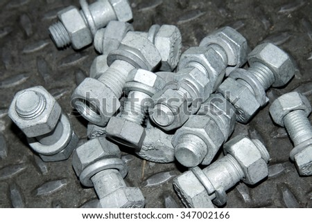 Steel bolts & nuts - stock photo