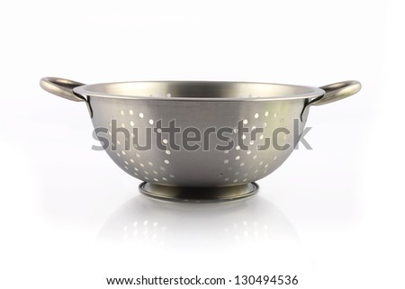 Steel Bowl isolated on white - stock photo
