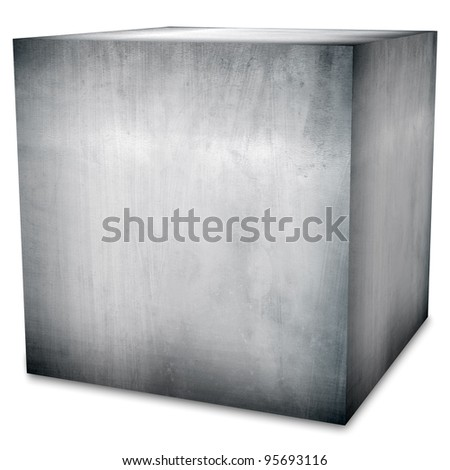 steel box (isolated with clipping path) - stock photo
