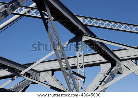 Steel bridge section - stock photo
