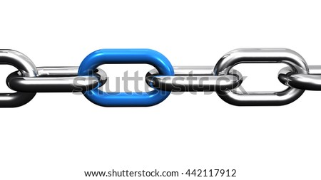 Steel chain with a blue link, business collaboration and teamwork concept closeup 3D illustration isolated on white background.