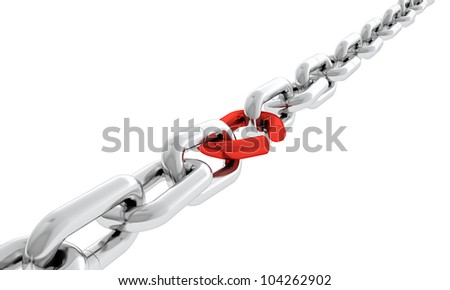 Steel chain with one red broken chain link. Concept of weakness - stock photo