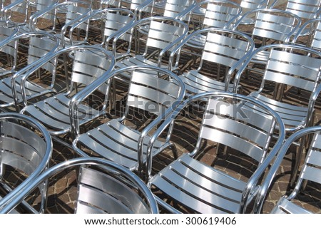 steel chair audience useful as entertainment concept - stock photo