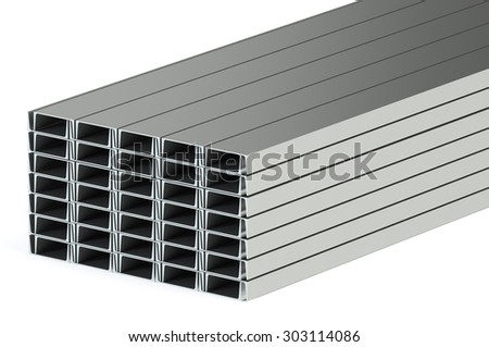 steel channels isolated on white background