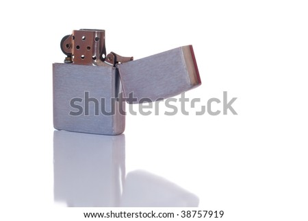 Steel cigarette lighter isolated on white background