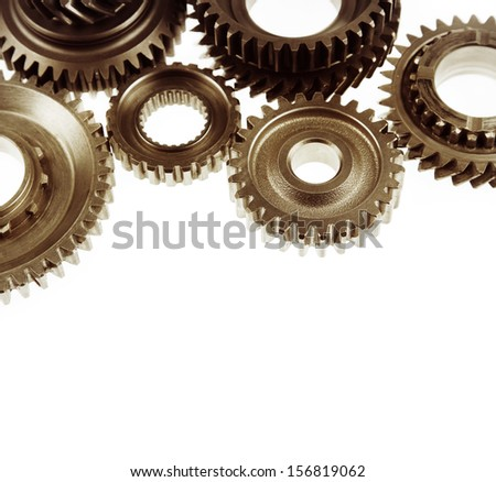 Steel cog gears on plain background. Copy space - stock photo