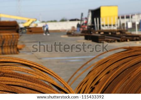 steel concrete warehouse - stock photo