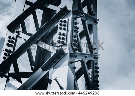 steel construction dark color tone for solid strong metal background.
