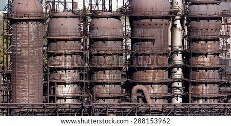 Steel construction of the blast furnace on the plant - stock photo