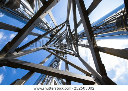 Steel construction view from below. - stock photo