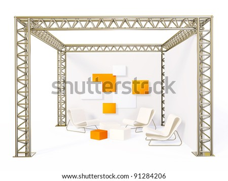 steel exhibition stand isolated on a white. - stock photo