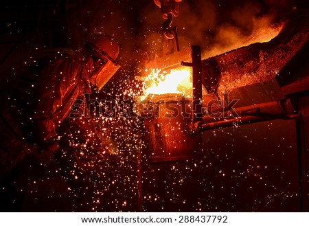 Steel Factory, Melting Iron - stock photo