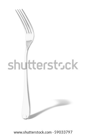 Steel forks standing on white background - stock photo