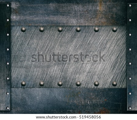 Steel frame, metal background with rivets