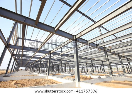 Steel frame structure - stock photo