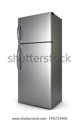 Steel fridge. 3d illustration isolated on white background  - stock photo