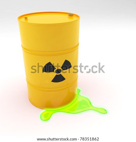 Steel 55 gallon drum yellow in color with radiation symbol leaking contents