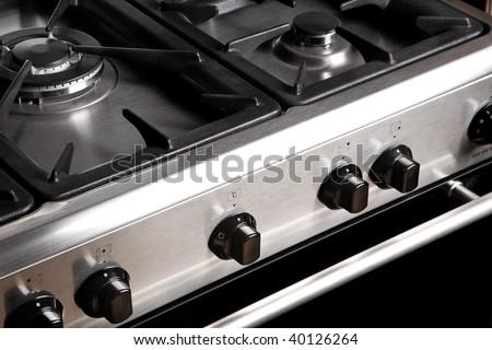 Steel Gas Stove - stock photo