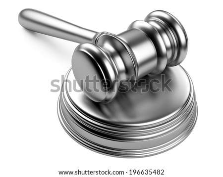 steel gavel and soundboard on white background. LAW concept - stock photo