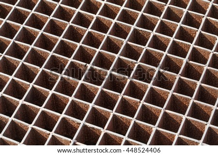 steel grating image taken low to the ground for a long diminished perspective