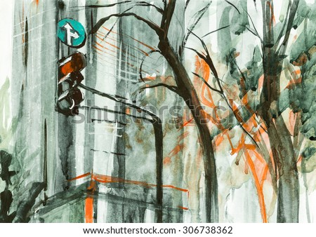 Steel grey morning in city watercolor paper oil canvas acrylic illustration - stock photo