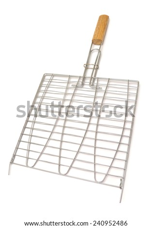 Steel grid for grill on white background - stock photo