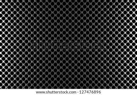 Steel grid with round holes and reflection on black background under the left and right light, abstract textured background
