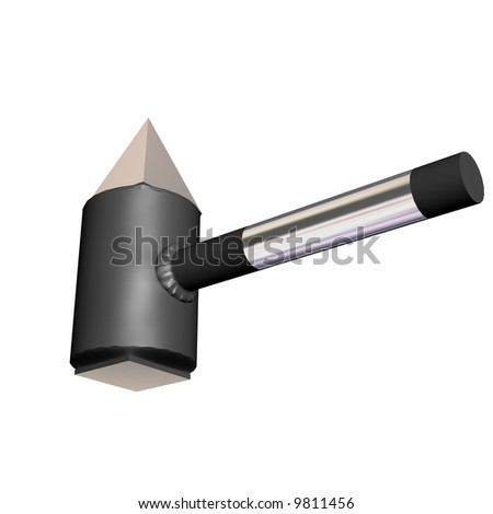 Steel hammer on a white background. 3D image.