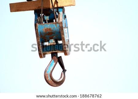 Steel hook of crane - stock photo