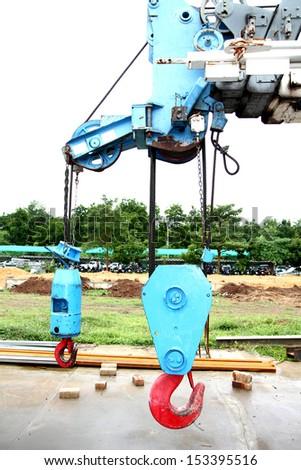 Steel hook of the crane - stock photo