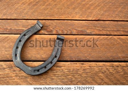 steel horseshoe in the photo - stock photo